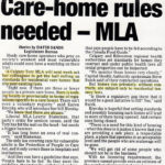 Care-Home Rules Needed – MLA (Article)